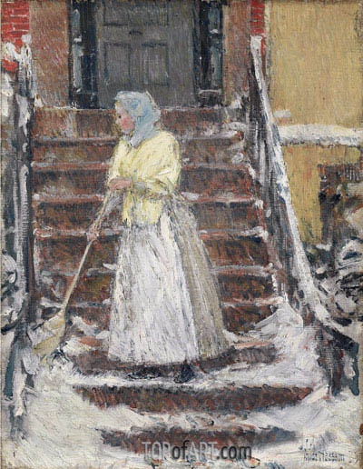 Sweeping Snow, c.1890 | Hassam | Gemälde Reproduktion