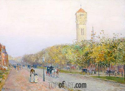Commonwealth Avenue, Boston, c.1892 | Hassam| Gemälde Reproduktion