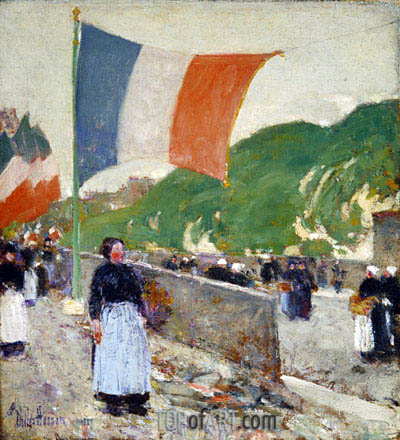 Montmartre: July 14, 1889 | Hassam| Painting Reproduction