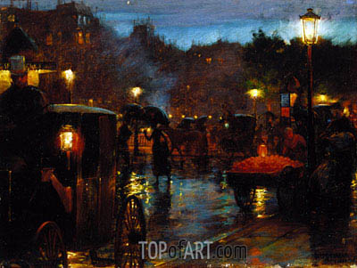 Paris at Night, 1889 | Hassam | Painting Reproduction