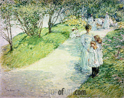 Promenaders in the Garden, 1898 | Hassam | Gemälde Reproduktion