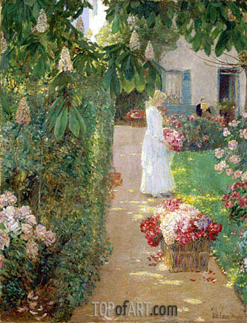 Gathering Flowers in a French Garden, 1888 | Hassam | Painting Reproduction