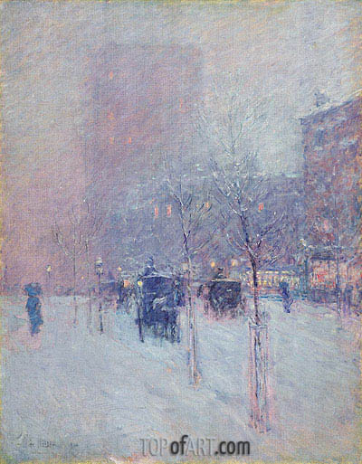 Late Afternoon, New York, Winter, 1900 | Hassam| Painting Reproduction