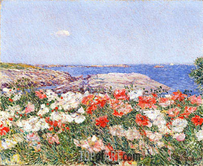 Poppies on the Isles of Shoals, 1890 | Hassam | Painting Reproduction