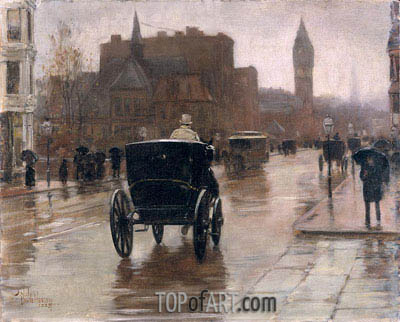 Columbus Avenue, Rainy Day, 1885 | Hassam| Painting Reproduction