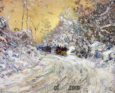 Sleigh Ride in Central Park, undated | Hassam | Painting Reproduction
