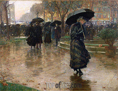 Hassam | Rainy Late Afternoon, Union Square, 1890