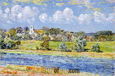 Landscape at Newfields, New Hampshire, 1909 | Hassam| Painting Reproduction
