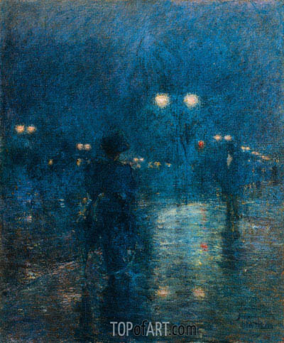 Fifth Avenue Nocturne, c.1895 | Hassam| Painting Reproduction