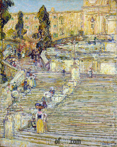 Hassam | The Spanish Stairs, Rome, 1897