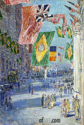 Hassam | Avenue of the Allies: Brazil, Belgium, 1918, 1918