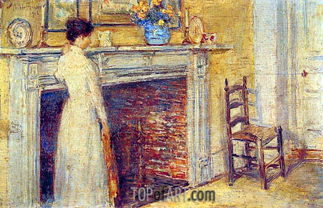 The Fireplace, 1912 | Hassam | Gemälde Reproduktion
