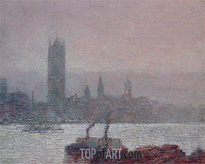 Houses of Parliament, Early Evening, 1898 | Hassam | Painting Reproduction