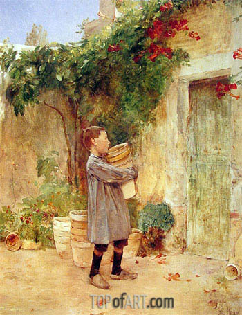 Boy with Flower Pots, 1888 | Hassam | Gemälde Reproduktion
