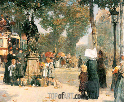 Hassam | Paris Street Scene, 1887