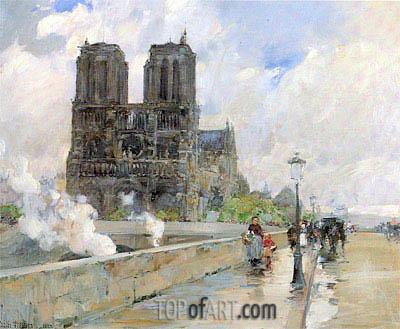 Notre Dame Cathedral, Paris, 1888 | Hassam | Painting Reproduction