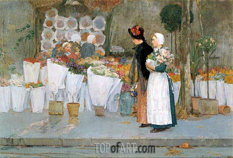 At the Florist, 1889 | Hassam| Painting Reproduction