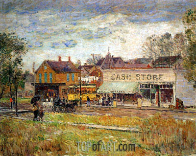 End of the Trolley Line, Oak Park, Illinois, 1893 | Hassam| Painting Reproduction