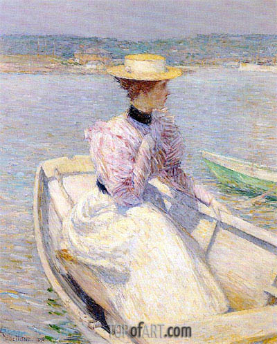 The White Dory, Gloucester, 1895 | Hassam | Painting Reproduction