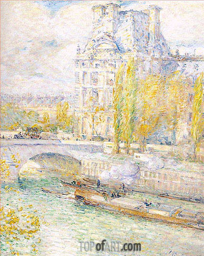 Le Louvre et le Pont Royal, 1897 | Hassam | Painting Reproduction