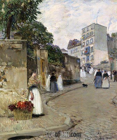 Hassam | Rue Montmartre, Paris, c.1888