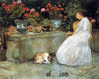Reading, 1882 | Hassam | Painting Reproduction