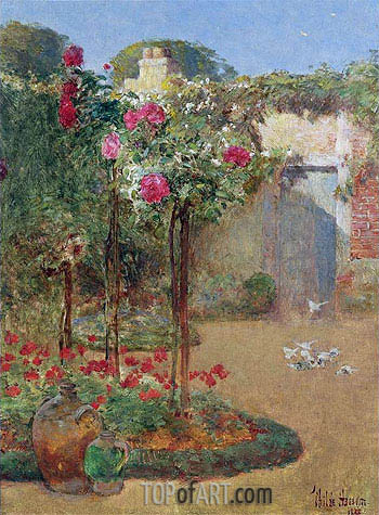 The Rose Garden, 1888 | Hassam | Painting Reproduction