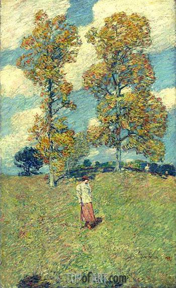 The Two Hickory Trees (Golf Player), 1919 | Hassam | Gemälde Reproduktion