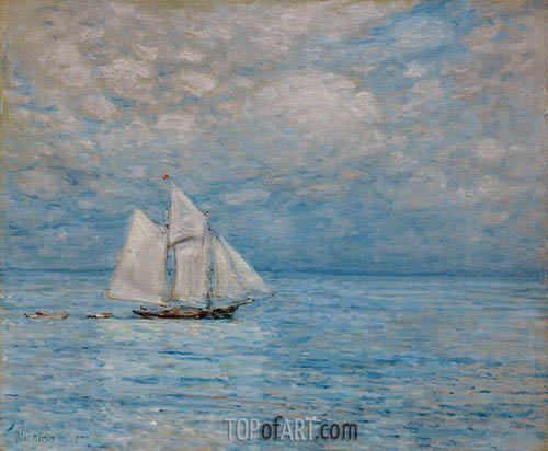 Sailing on Calm Seas, Gloucester Harbor, 1900 | Hassam| Painting Reproduction