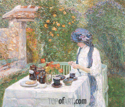 The Terre-Cuite Tea Set (French Tea Garden), 1910 | Hassam | Painting Reproduction
