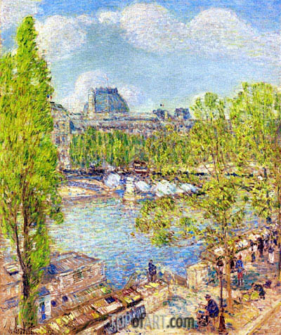 April, Quai Voltaire, Paris, 1897 | Hassam | Gemälde Reproduktion