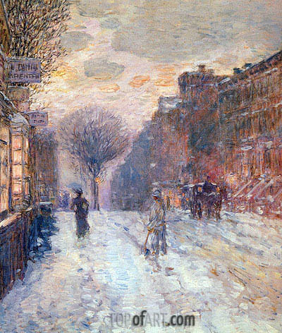 Early Evening After Snowfall, 1906 | Hassam | Painting Reproduction