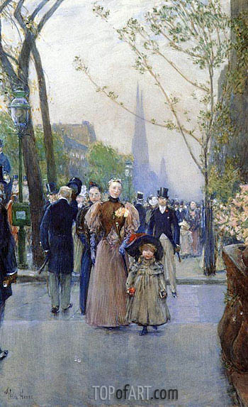Fifth Avenue aka Sunday on Fifth Avenue,  | Hassam | Gemälde Reproduktion