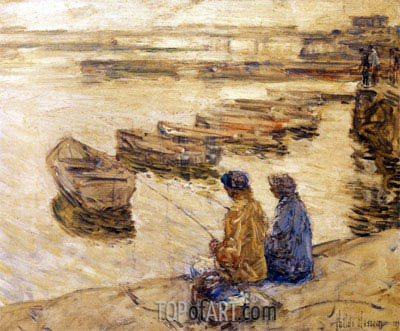 Fishing, 1896 | Hassam | Painting Reproduction