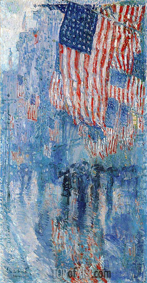 Avenue in the Rain, 1917 | Hassam | Gemälde Reproduktion