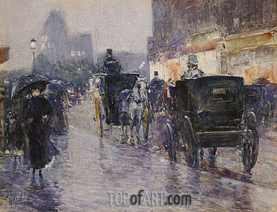 Hassam | Horse Drawn Cabs at Evening, New York, c.1890