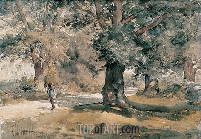 Country Road (Wayside Inn, Sudbury, Massachusetts), 1882 | Hassam | Painting Reproduction