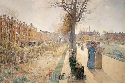 The Public Garden (Boston Common), c.1885 | Hassam | Painting Reproduction