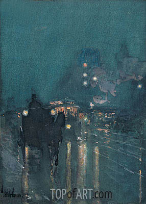 Nocturne, Railway Crossing, Chicago, 1893 | Hassam| Painting Reproduction