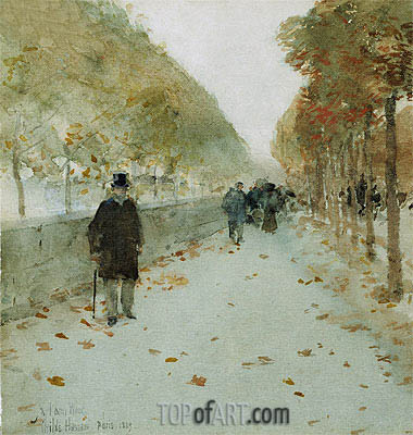 Quai du Louvre, 1889 | Hassam| Painting Reproduction