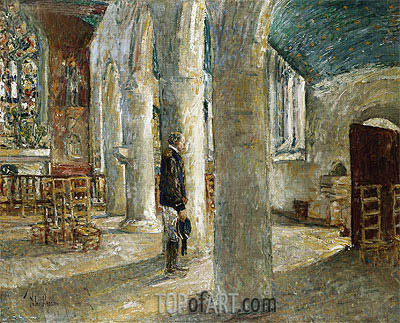 Church Interior, Brittany, 1897 | Hassam| Gemälde Reproduktion
