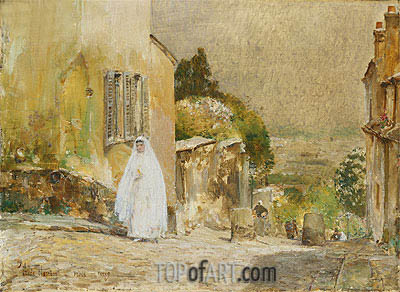 Spring Morning, rue Mt. Cenis, Montmartre, 1889 | Hassam| Painting Reproduction