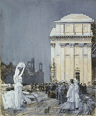 Scene at the World's Columbian Exposition, Chicago, 1892 | Hassam | Gemälde Reproduktion