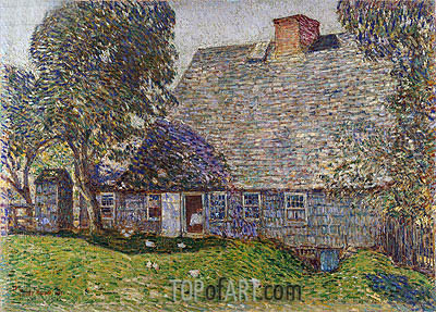 The Old Mulford House, East Hampton, 1917 | Hassam | Painting Reproduction