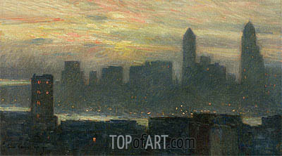 Manhattan's Misty Sunset, 1911 | Hassam | Painting Reproduction