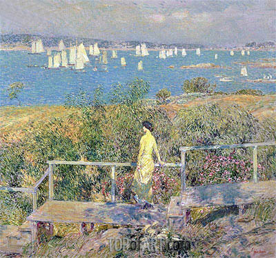Yachts, Gloucester, 1889 | Hassam| Painting Reproduction
