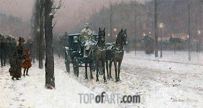 Paris, Winter Day, 1887 | Hassam| Painting Reproduction