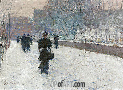 Promenade - Winter New York, 1895 | Hassam | Gemälde Reproduktion
