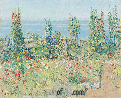 Hollyhocks, Isle of Shoals, 1902 | Hassam | Painting Reproduction