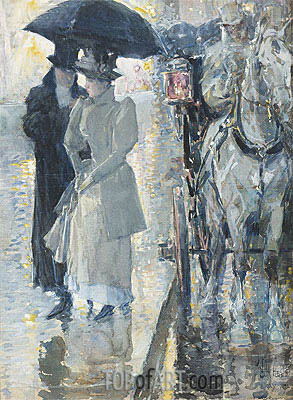 Rainy Day, New York, 1892 | Hassam | Painting Reproduction